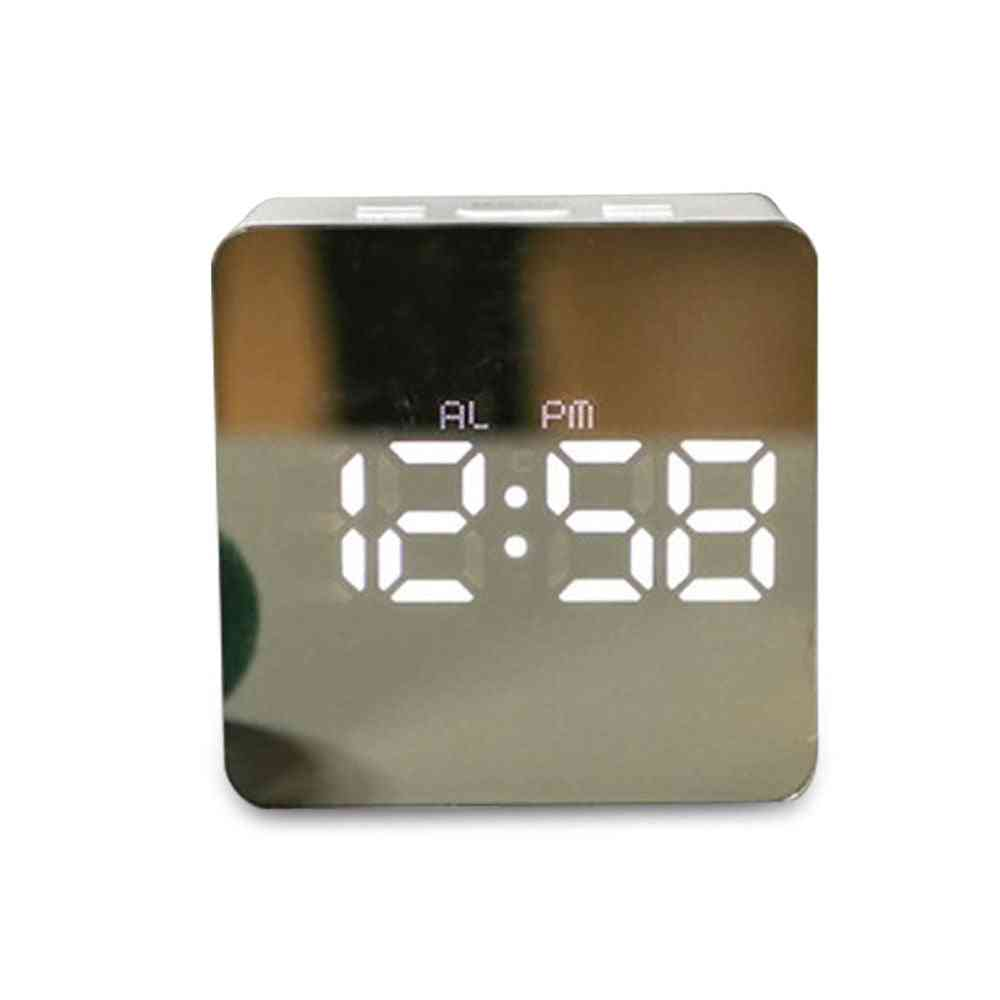 Electronic Mirror Digital Temperature Snooze Large Display Desk Led Alarm Clock