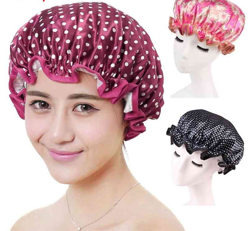Thick Double Layer, Hair Cover Waterproof Shower Cap For Adults