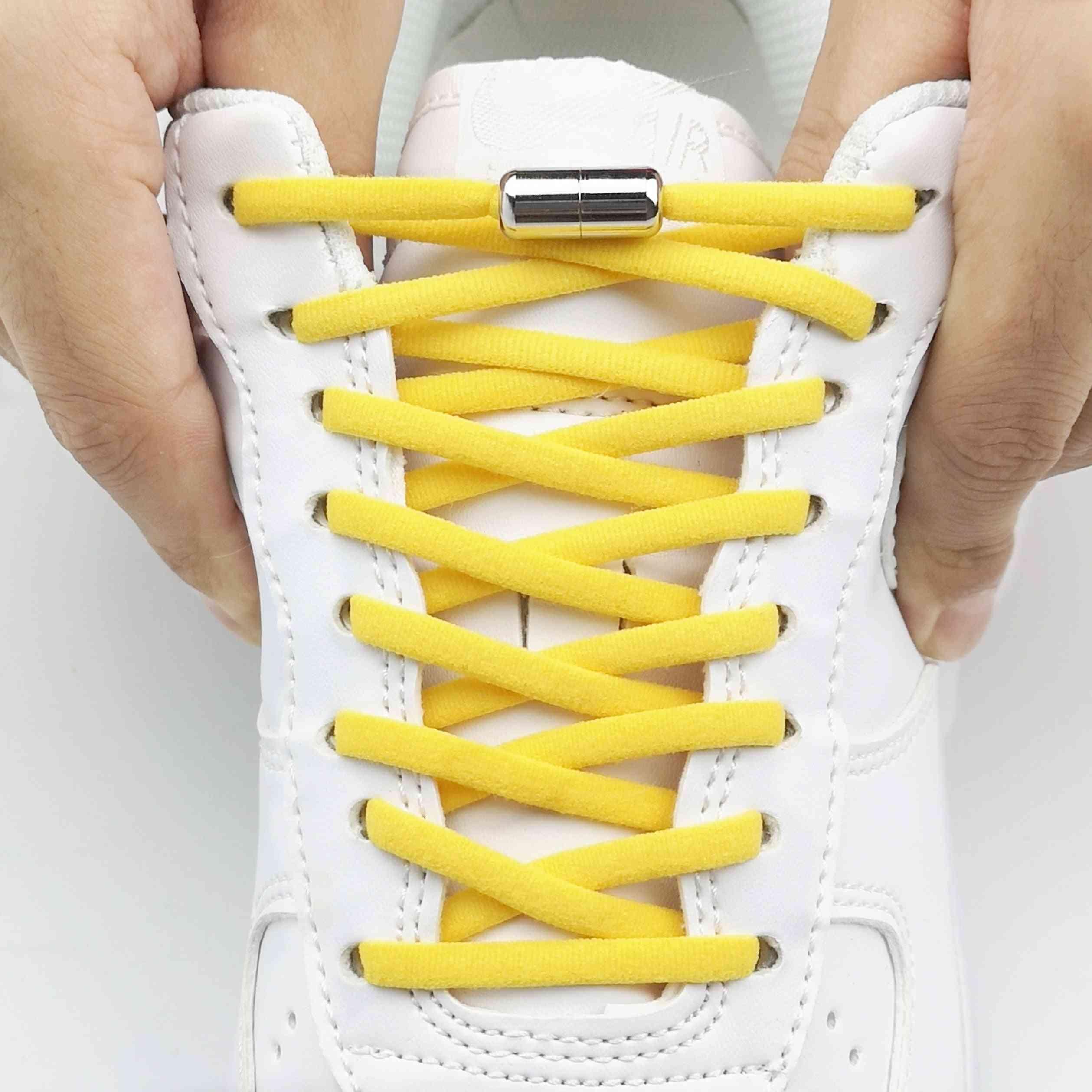 Elastic No Tie Shoelaces Metal Lock Shoe Laces Adult Women Men