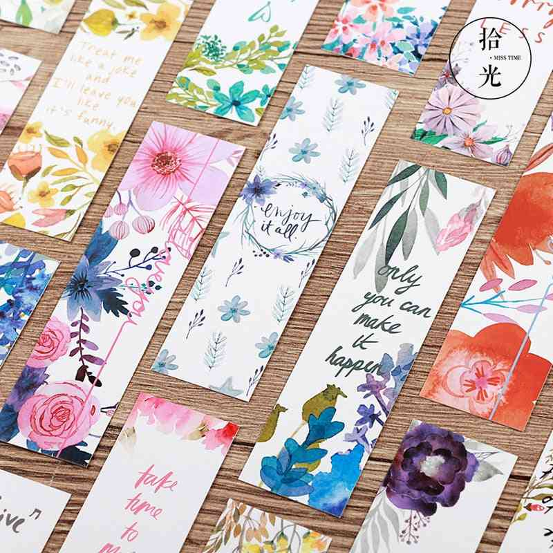 Message Cards/beautiful Flowers Patter Bookmarks