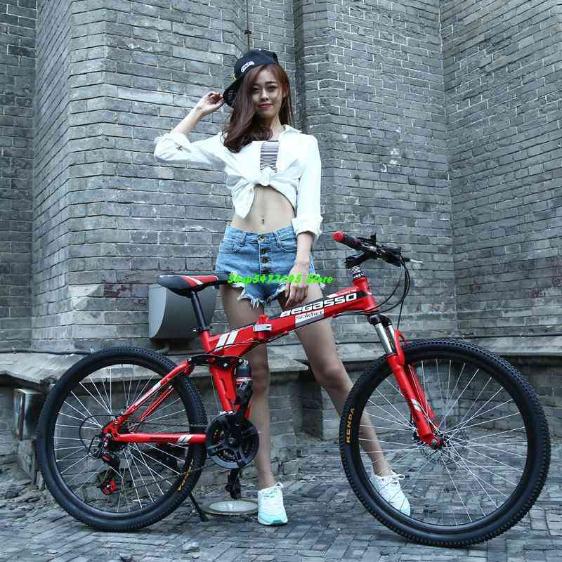 4-variable Speeds With Dual-brake Folding Bicycle And Women