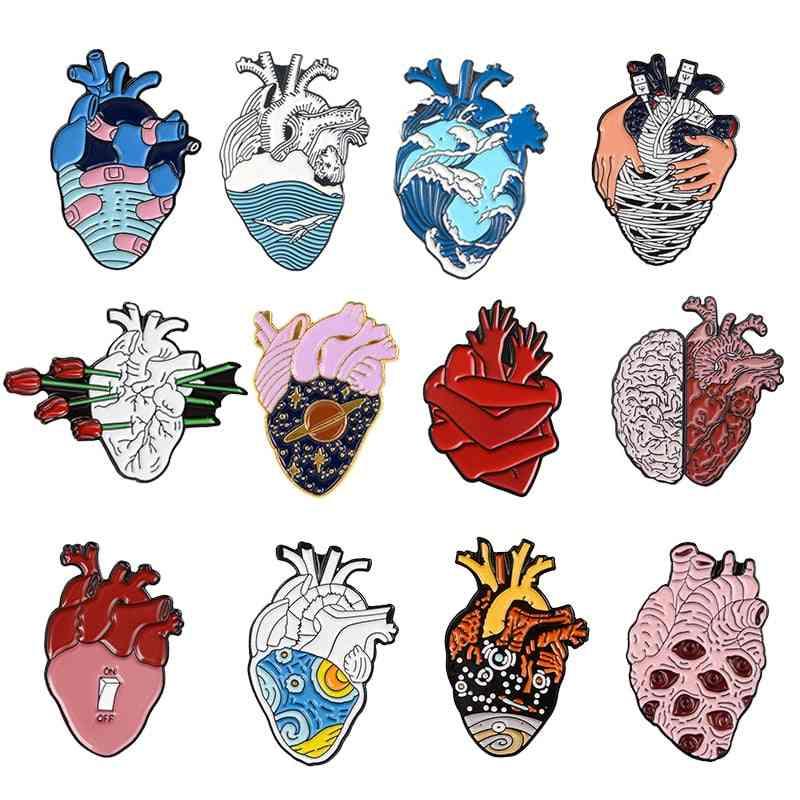 Heart Pin Ocean Wave Bandage Enamel Pins Brooch & Men