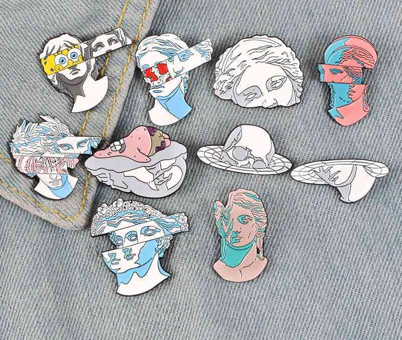 Art Enamel Pins, Split Head, Sculpture Badges, Brooches