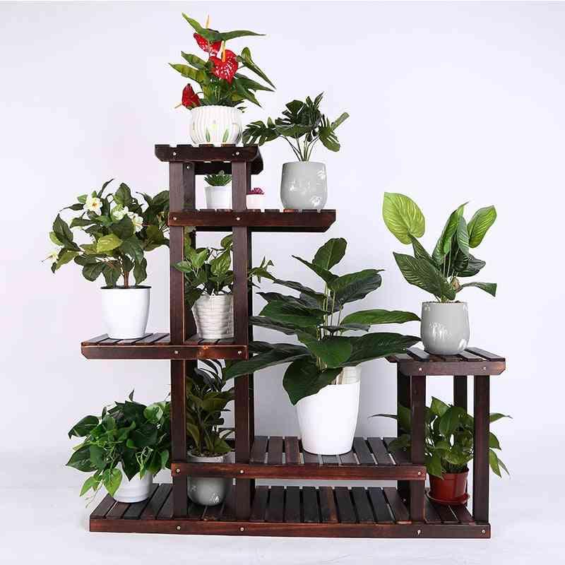 Vintage Wood Plant Stand Balcony Flower Pot Ladder Shelf
