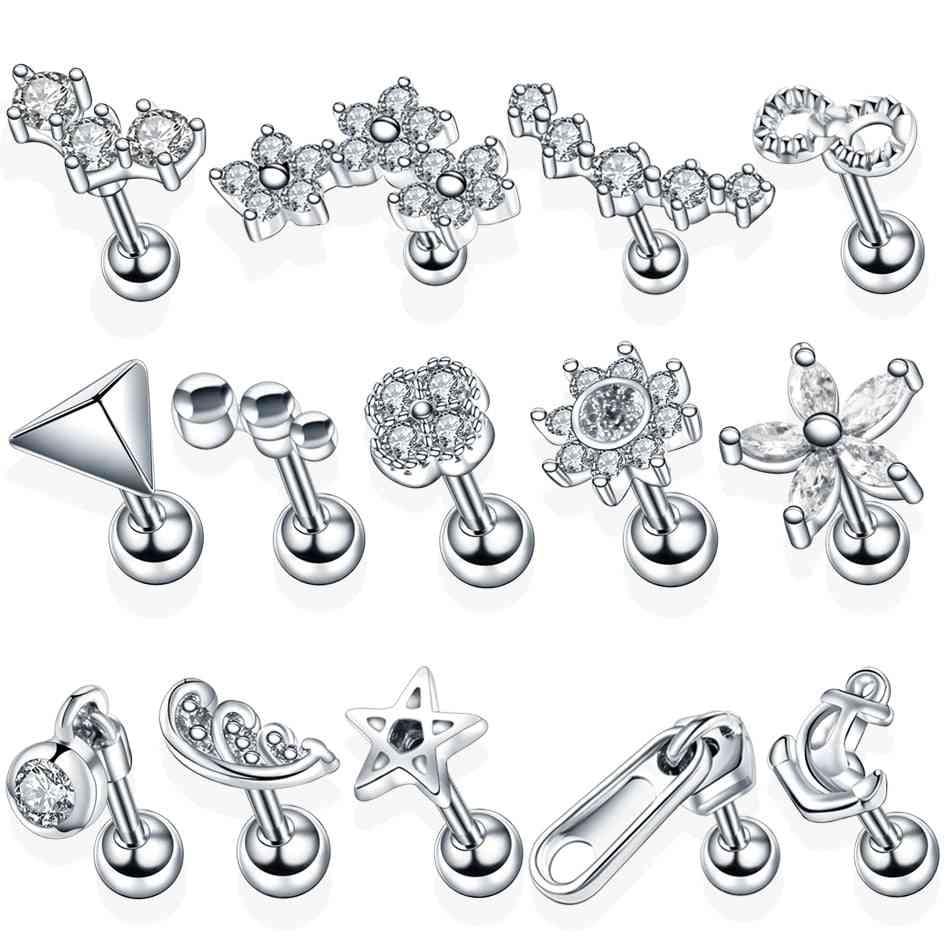 Steel Ear Tragus, Cartilage Piercing, Crystal Flower, Conch Lobe Earrings, Ear Stud