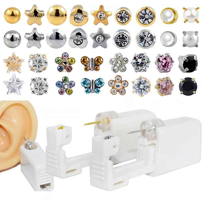 Disposable Sterile- Ear Cartilage, Tragus Helix Gun, Steel Stud, Earring Star Ball