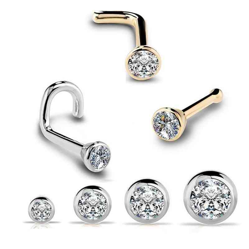 Zircon Gem Bone, Nose Stud Piercing, Anodized Ring & Earring