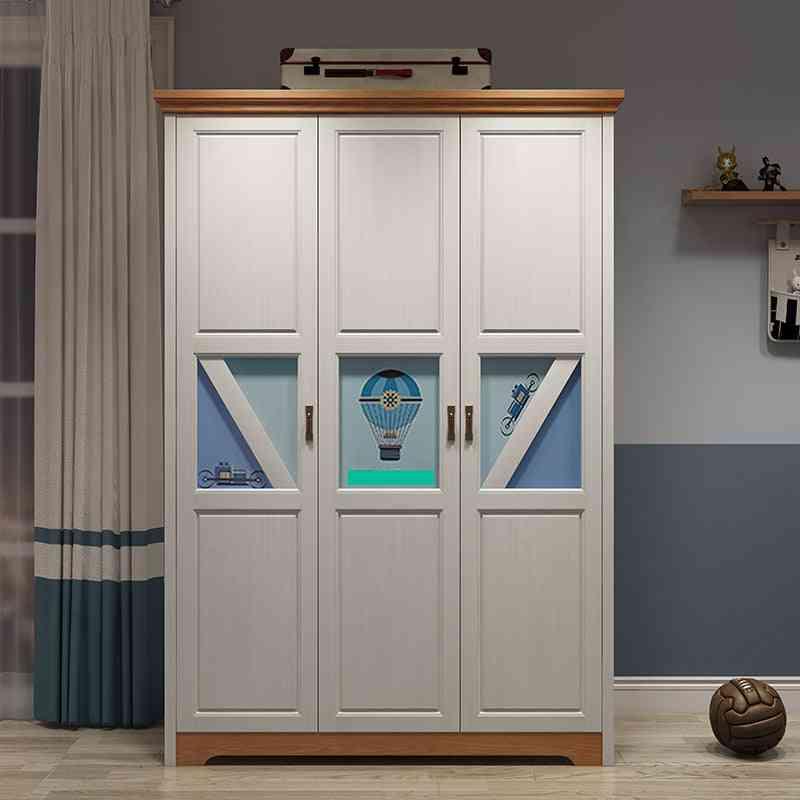 3-door Wood Teenager Bedroom, Wardrobe Nordic Modern, Storage Cabinet