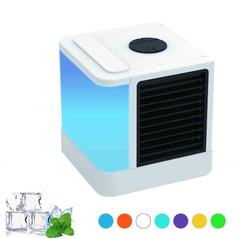 Portable Air Conditioning, Humidifier - 7 Colors Light Desktop Fan