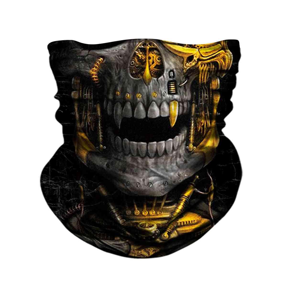 3d- Skull Skeleton Balaclava, Seamless Face Shield Mask, Scarf Headband For Outdoor