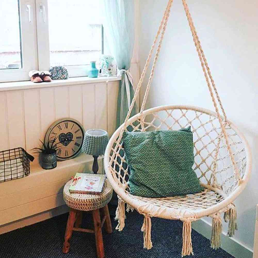 Garden Hanging Rope Chair With Two Pillows Camping
