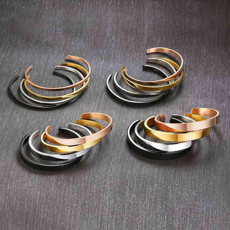 Men & Women Flat Skinny Cuff Bangle Bracelet