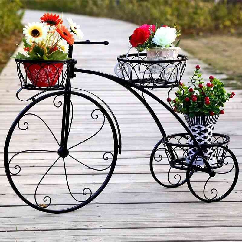 Floor Multi-layer Bicycle Metal Shelves Plants Stand
