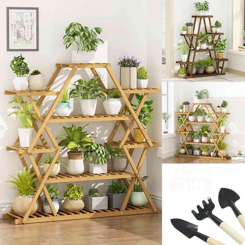 Six Tier Wooden Plant Stand, Flower Patio Garden Planter Pot Shelf