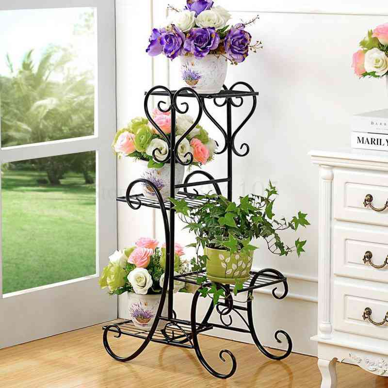 Wrought Iron Multilayer Flower Solid Wood Flowerpot Sitting Room Balcony Indoor Multifunctional Showy
