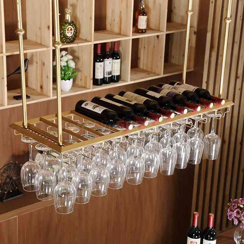 Hanging  Wine Glass Rack Coffee Bar Cabinet Loft Retro Industrial Styles Shelving Shelf Solid Wood Pipe