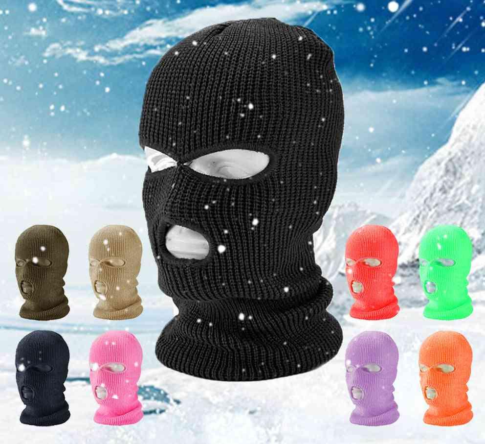 Full Face Cover Mask Three Hole Balaclava Knit Hat