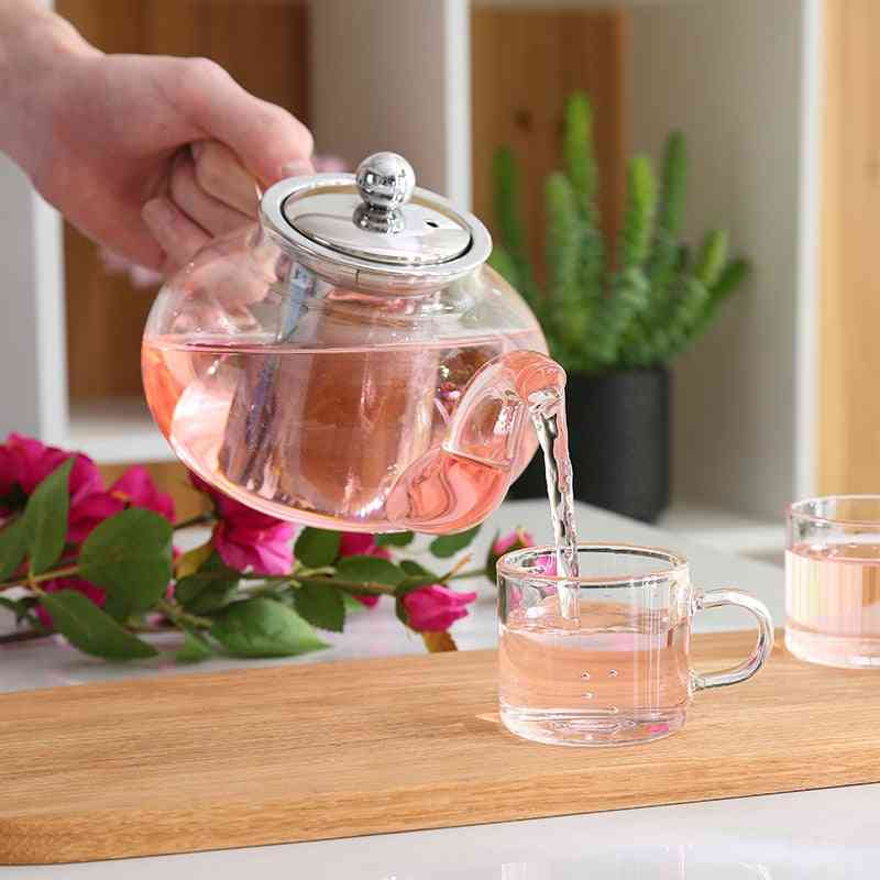 Stainless Steel- Glass Teapot With Infuser Strainer, Heat Resistant, Loose Leaf Kettle Set