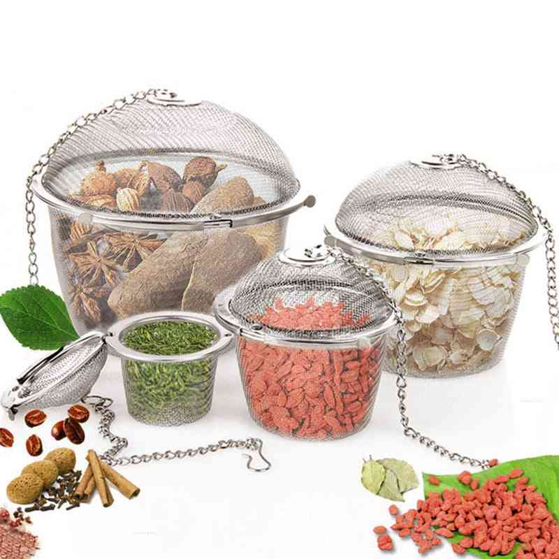 Spice Seasoning Bag, Tea Strainer, Chained Lid, Stainless Steel Mesh, Ball Coffee Filter Basket, Infuser Tools