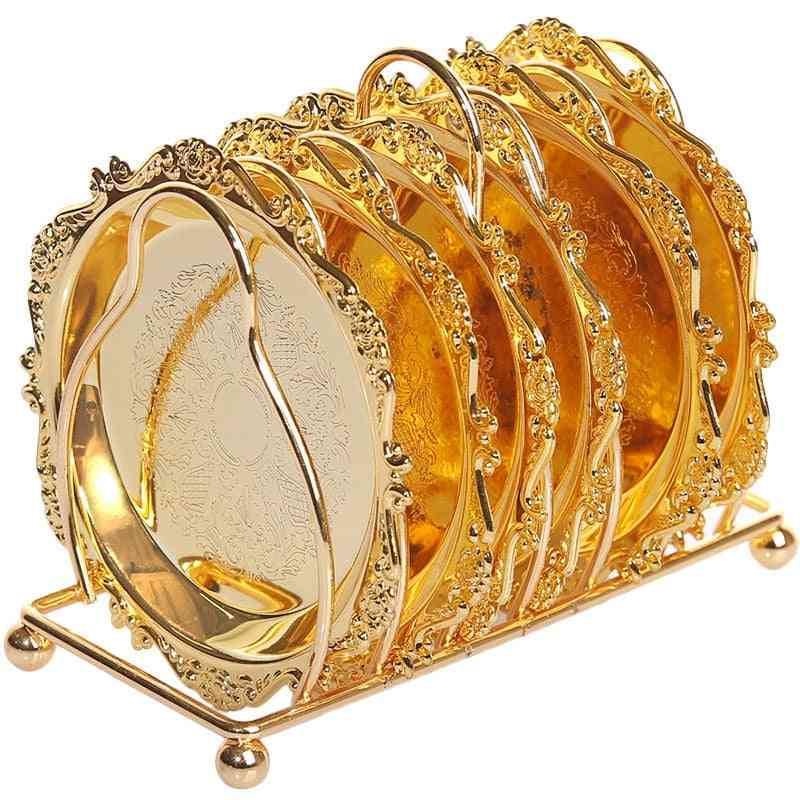 6pc- Classical Golden, Cocktail Metal Coaster, Continental Plated Mat