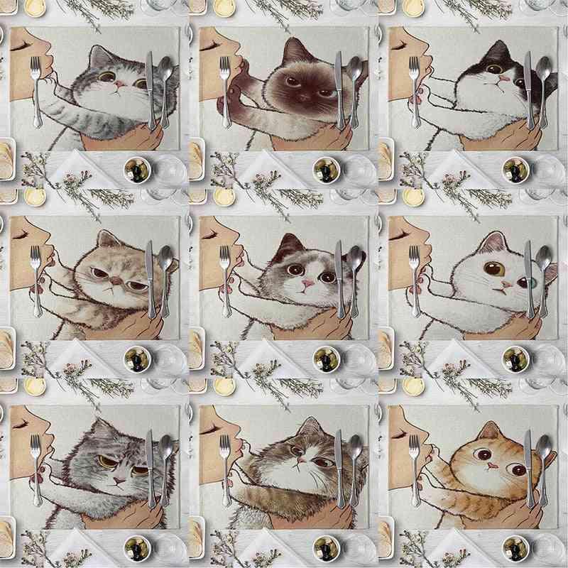 Cute Cat Cartoon Animal Pattern Placemat