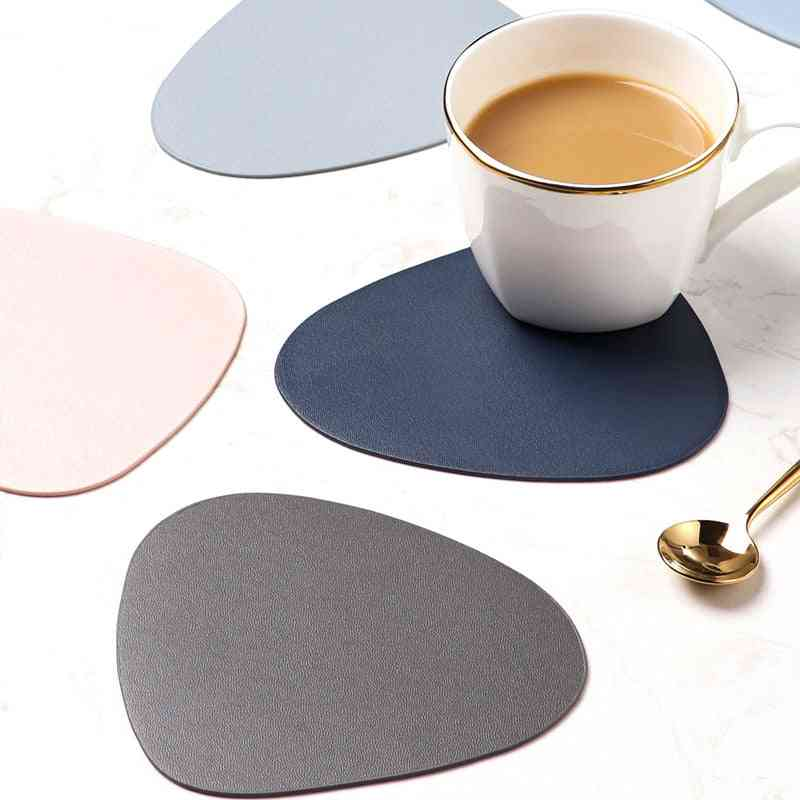 Heat Insulation, Non-slip Tablemat Coaster Set- Leather Placemat, Tableware Pad