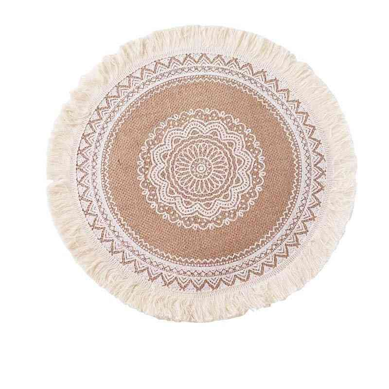 Round Embroidery Table Placemat Nordic Style Non-slip Heat Insulation Furniture Decoration Mat