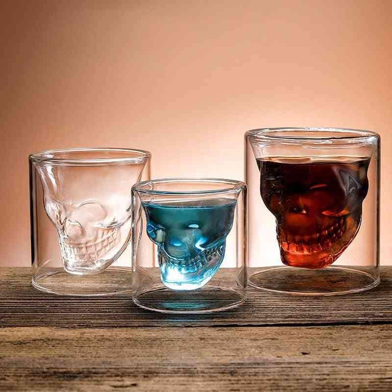 Coffee Mug, Double Layered Crystal Skull Head Glass Cup