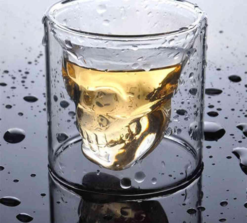 Coffee Mug, Double-layered Crystal Skull Head Glass Cup