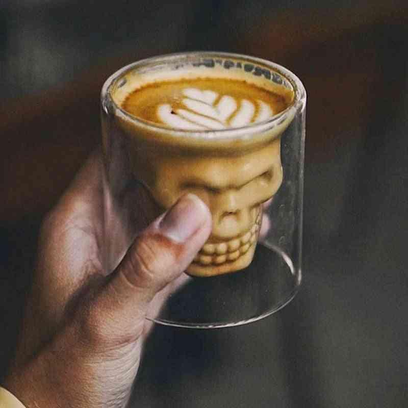 Skull Coffee Mug, Double-layered Crystal Head Glass Cup