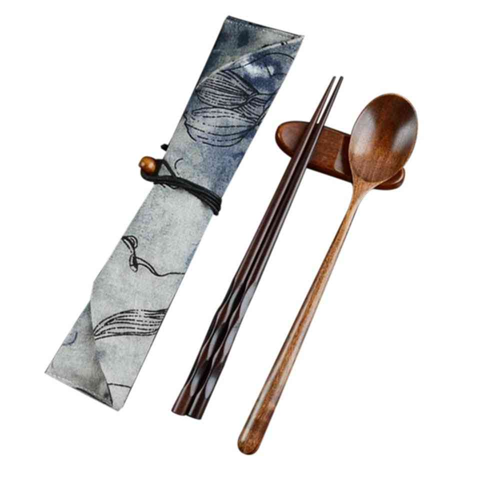 Handmade Japanese Natural Wood Chopstick Spoons Set