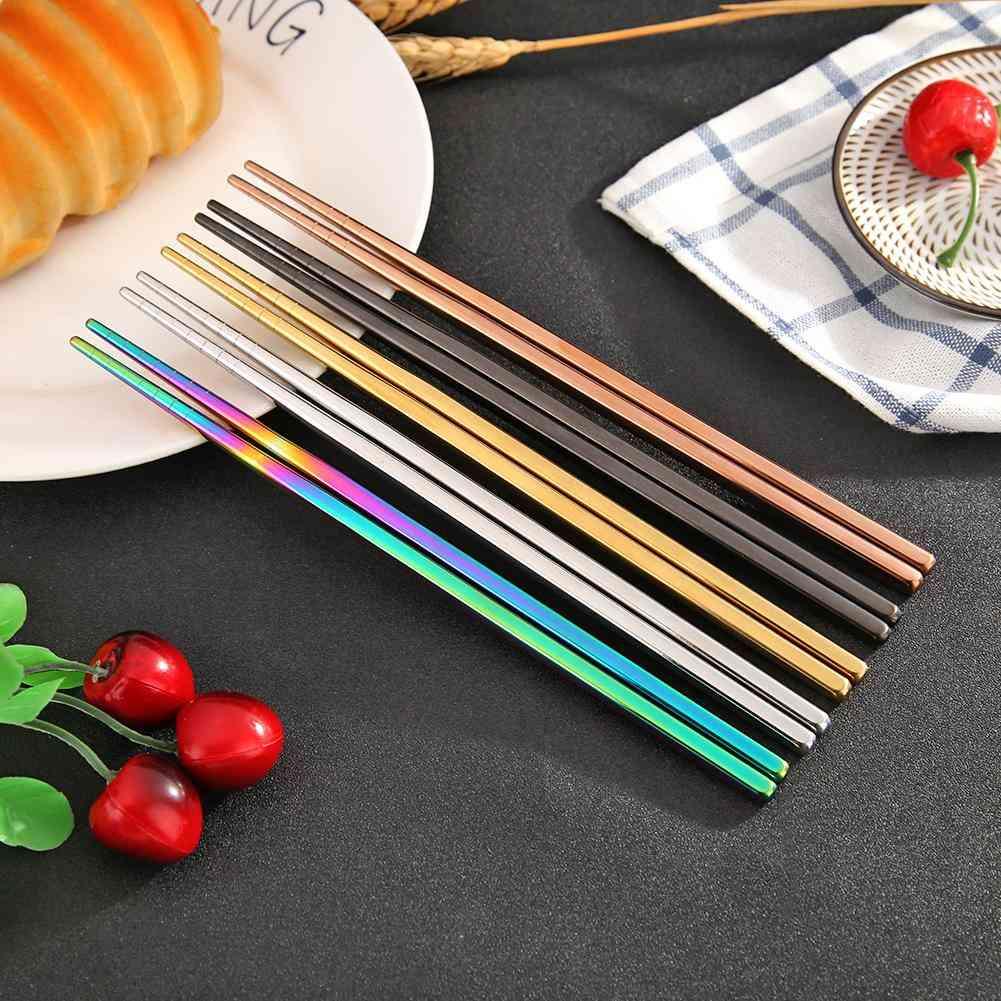 Stainless Steel Metal Chopsticks, Non-slip Set
