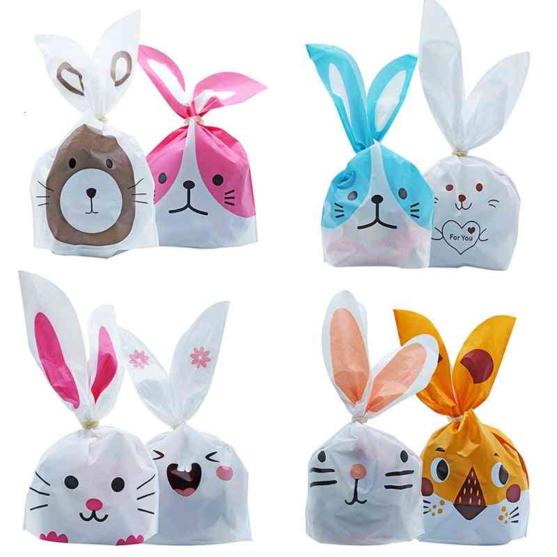 Cute Rabbit Ear Cookie Plastic Candy Bags For Event Party Package Supplies