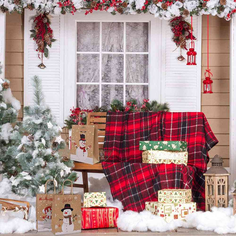Snowman Cookie, Packaging Party, Favor Boxes Kraft, Paper Handle Bags