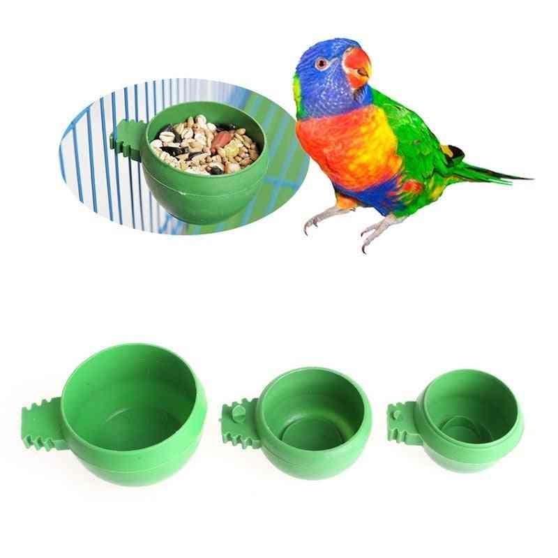 Mini Bird Parrot Food Water Bowl, Feeder, Plastic Pigeons, Sand Cup