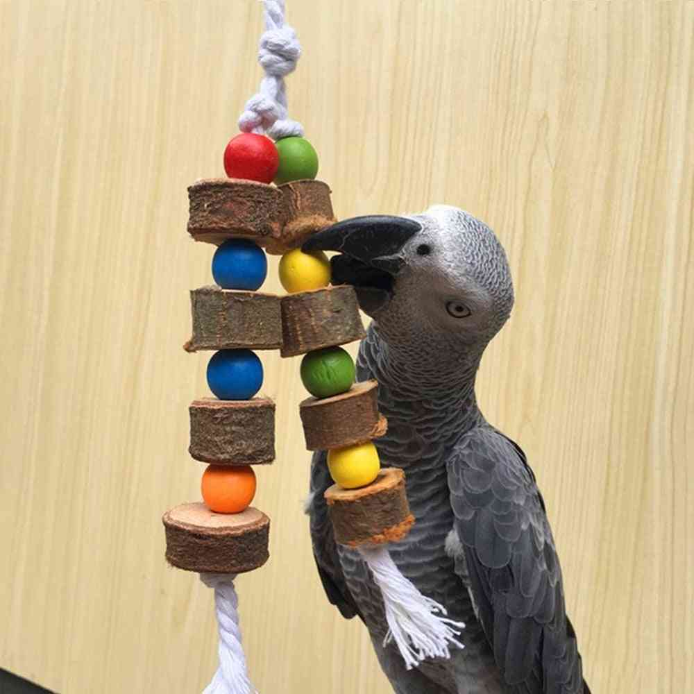 Natural Wooden Birds Parrot Colorful, Chew Bite, Hanging Cage, Balls Ropes