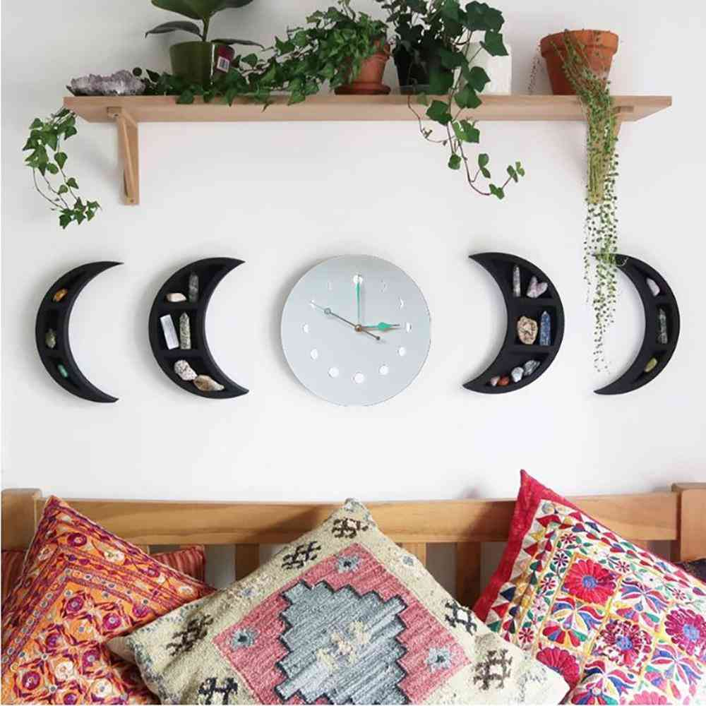 Nordic Style Wooden Decorative Moon Phase Mirror, Wall Sticker
