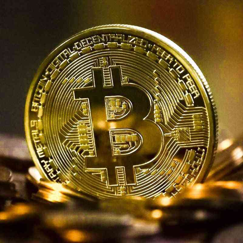 Gold Plated Bitcoin Coin Collectible, Art Collection