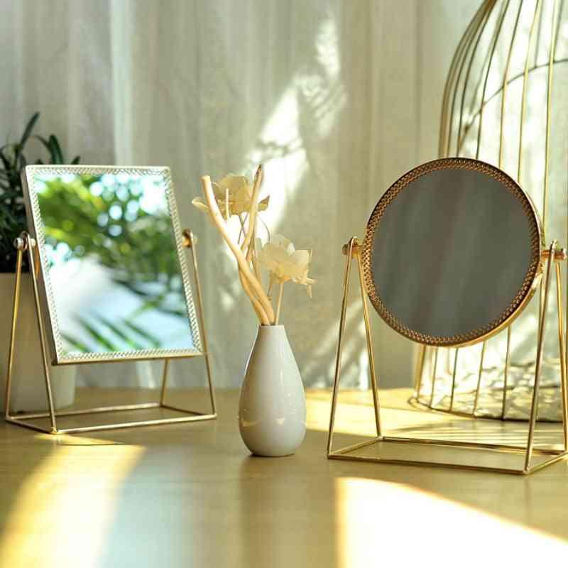 Light Luxury Retro European Home, Desktop Square, Round Mirror