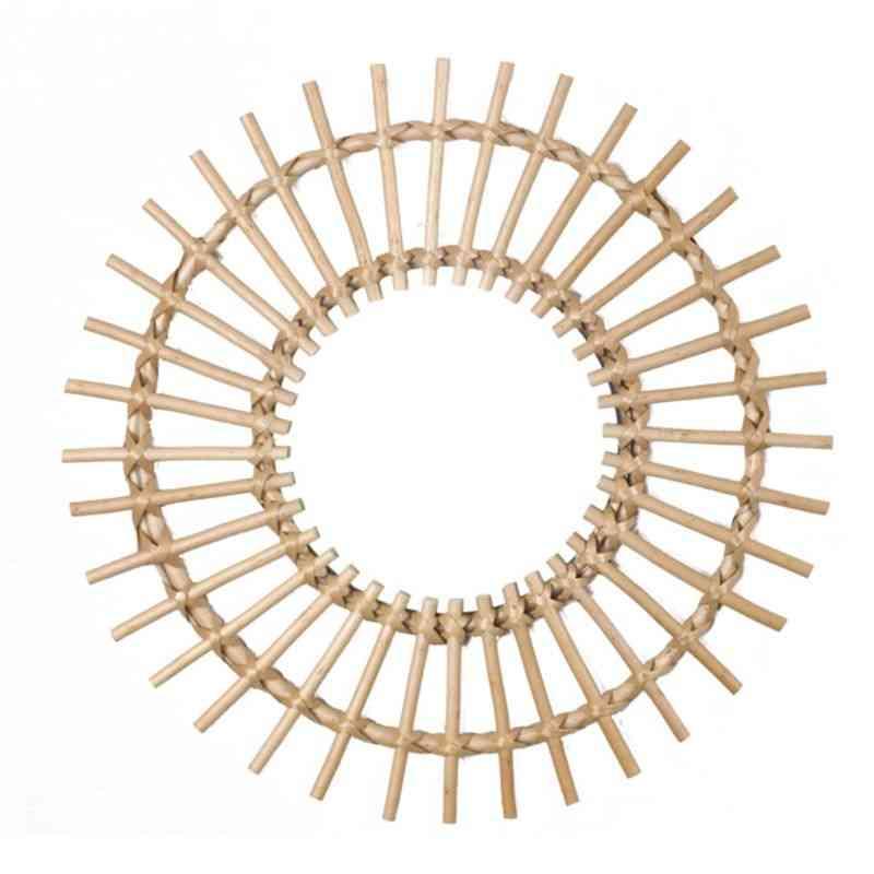 Rattan Innovative Art Decoration Round Makeup Mirror