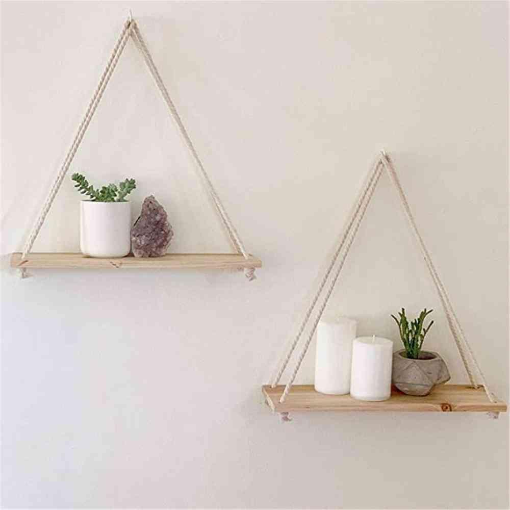 Premium Wood Swing, Hanging Rope, Wall Mounted, Floating Shelves