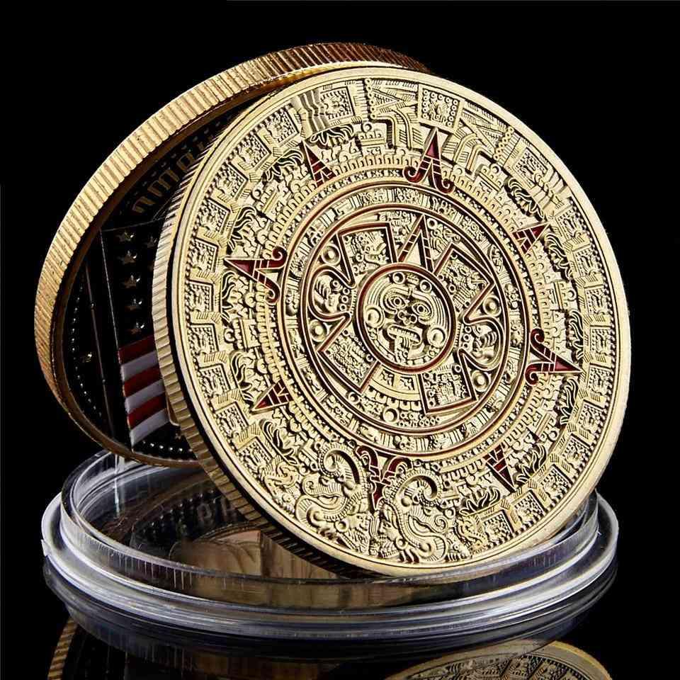 Mexico Mayan, Aztec Calendar, Art Prophecy Culture, Gold Coins Collectibles