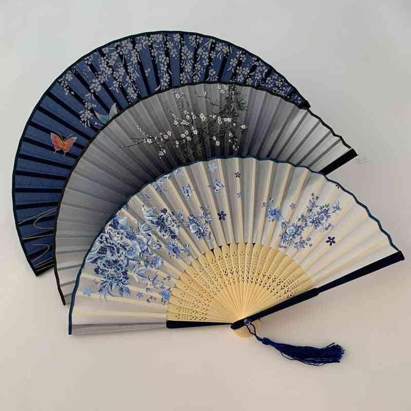 Chinese & Japanese Pattern, Art Craft, Vintage Style, Silk Folding Fan