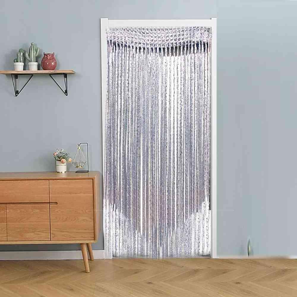 Decorative Silk Curtain, Shiny Tassel Window Glass Panel Room Partition Suspension
