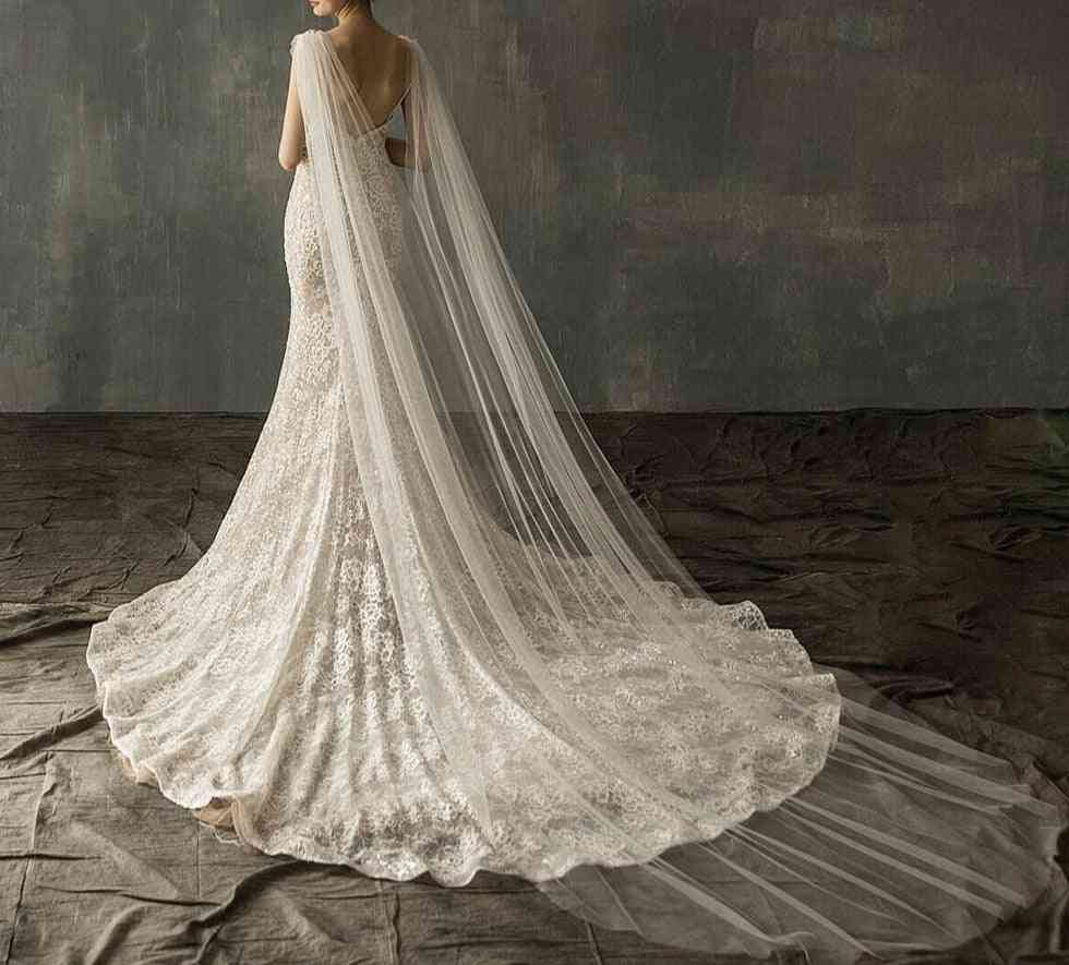 Diamond Top-cape, Bridal Shawl, Cathedral Tulle, Long Veil