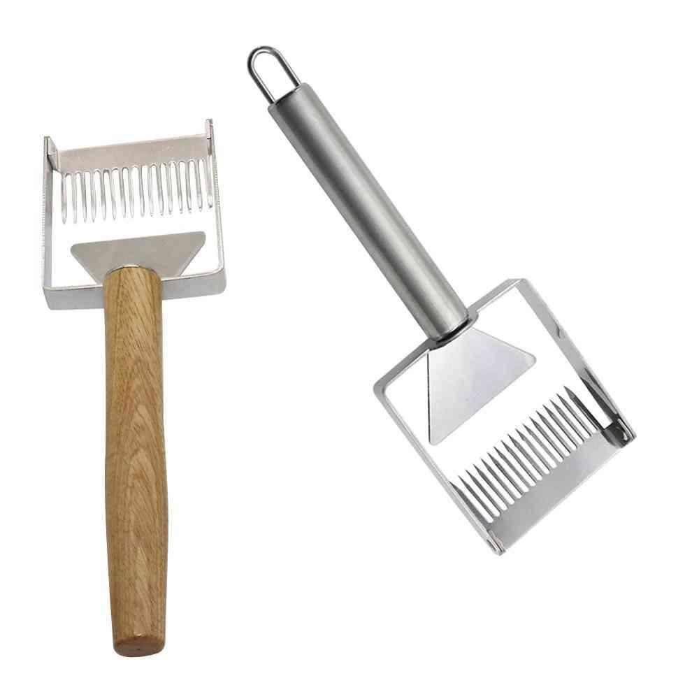 Stainless Steel Wooden Handle Needle Type Honey Scraper Cutting Knife