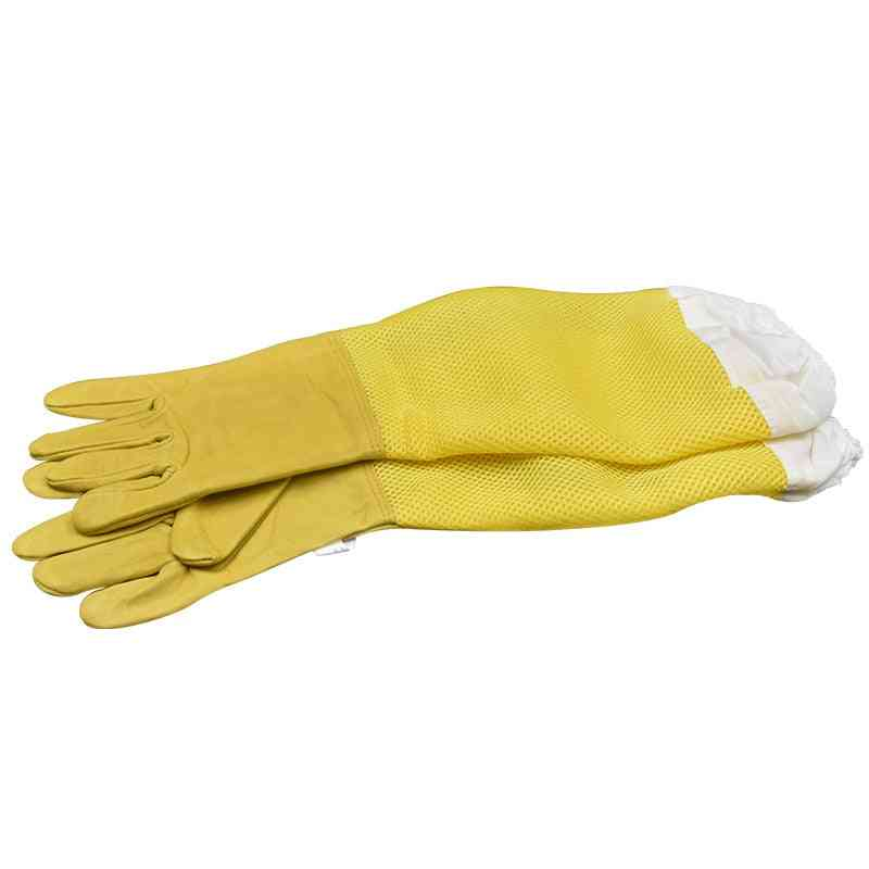 Beekeeping Gloves, Protective Breathable Mesh Sheepskin And Cloth