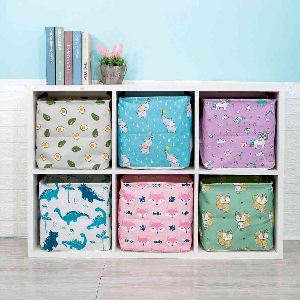 Folding Linen Fabric Storage Box