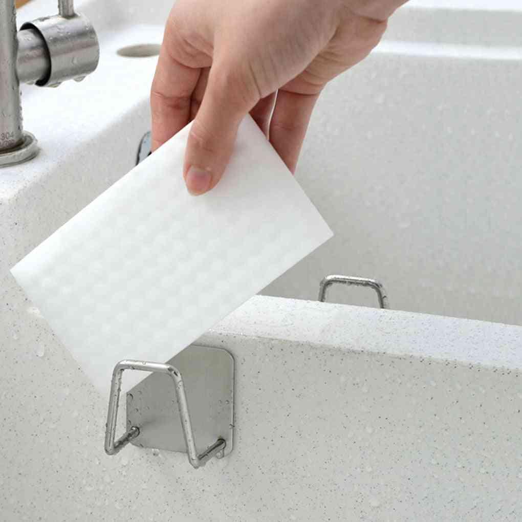 Stainless Steel Sponges Holder, Self Adhesive Sink Sponge Drain Drying Rack