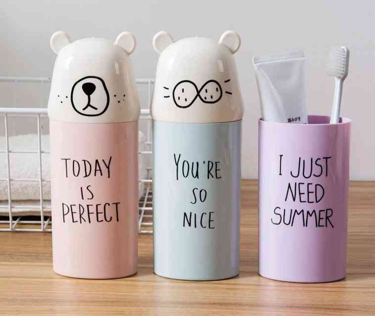 Cute Toothbrush Toothpaste Cups, Portable Storage Boxes